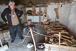Re-creation of neolithic home, contents, weapons, tools, Stonehenge, Wiltshire, England, UK