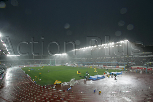 9 August 2005: General view of Helsinki Olympic stadium in the rain while the athletics is suspended due to bad weather at the IAAF World Athletics Championships, held in the Olympic Stadium, Helsinki, Finland Photo: Glyn Kirk/actionplus...050809  bad weather venue stadia
