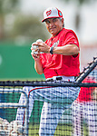5 March 2016: Washington Nationals Bullpen Coach Dan Firova tosses batting practice prior to a Spring Training pre-season game against the Detroit Tigers at Space Coast Stadium in Viera, Florida. The Nationals defeated the Tigers 8-4 in Grapefruit League play. Mandatory Credit: Ed Wolfstein Photo *** RAW (NEF) Image File Available ***