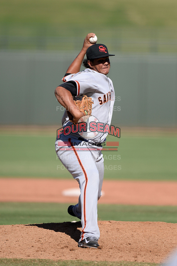 Scottsdale Scorpions pitcher Adalberto Mejia (54), of the San Francisco Giants organization, during an Arizona Fall League game against the Surprise Saguaros on October 17, 2013 at Surprise Stadium in Surprise, Arizona.  Surprise defeated Scottsdale 10-5.  (Mike Janes/Four Seam Images)