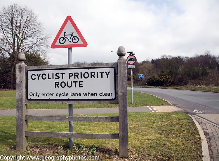 Cycle Priority Route scheme Martlesham Suffolk