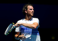 ADRIAN MANNARINO (FRA) against JUAN MARTIN DEL POTRO (ARG) in the First Round of the Men's Singles. Juan Martin Del Potro beat Adrian Mannarino 2-6 6-1 7-5 6-4..16/01/2012, 16th January 2012, 16.01.2012..The Australian Open, Melbourne Park, Melbourne,Victoria, Australia.@AMN IMAGES, Frey, Advantage Media Network, 30, Cleveland Street, London, W1T 4JD .Tel - +44 208 947 0100..email - mfrey@advantagemedianet.com..www.amnimages.photoshelter.com.