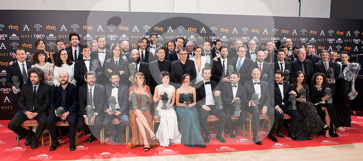 All the Goya winner posing the photo family for the media at Madrid Marriott Auditorium Hotel in Madrid, Spain. February 04, 2017. (ALTERPHOTOS/BorjaB.Hojas)