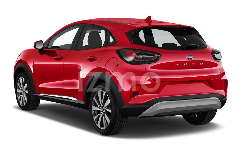 Car pictures of rear three quarter view of 2020 Ford Puma Titanium-X 5 Door SUV Angular Rear