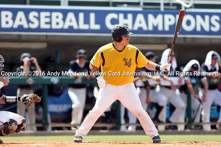 04 June 2016: Millersville's Ben Snyder. The Nova Southeastern University Sharks played the Millersville University Marauders in Game 14 of the 2016 NCAA Division II College World Series  at Coleman Field at the USA Baseball National Training Complex in Cary, North Carolina. Nova Southeastern won the game 8-6 and clinched the NCAA Division II Baseball Championship.