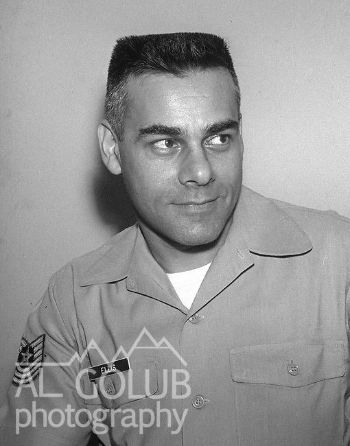 Master sergent Ellis.<br /> <br /> March 1964: CAFB, California<br /> Staff of the Valley Bomber, 93rd Bomb Wing, Directory of Information, SAC<br /> Photo by Al Golub/Golub Photography <br /> <br /> Castle is named for Brigadier General Frederick W. Castle, who died on Dec. 24, 1944 flying his 30th bombing mission. He died leading an armada of 2000 B-17s on a strike against German airfields. On the way to the target, an engine failure over Liege, Belgium caused his bomber to fall behind, where it was attacked by Germans and caught fire. He ordered his men to bail out but stayed alone at the controls of the flaming Flying Fortress until it crashed. The entire crew, except Gen. Castle and one airman killed before the bailout order, survived. Gen. Castle received a Medal of Honor posthumously for his bravery.<br /> <br /> Castle became home to the 93rd Bombardment Wing in 1947. Aircraft stationed at Castle included B-29, B-17 and C-54 aircraft, with B-50 bombers arriving in 1949. In 1954, B-47 bombers arrived.  On June 29, 1955, Castle received the Air Force's first B-52. These heavy bombers can hold the equivalent of three railroad cars' worth of fuel. The first Air Force KC-135 jet tanker arrived May 18, 1957<br /> <br /> Castle was selected for closure under the Defense Base Closure and Realignment Act of 1990 during Round II Base Closure Commission deliberations (BRAC 91). The last of the B-52s left the base in 1994, followed by the departure of the last of the KC-135s in early 1995. The base closed September 30, 1995.