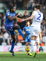 Bolton Wanderers' Clayton Donaldson competing with Leeds United's Luke Ayling <br /> <br /> Photographer Andrew Kearns/CameraSport<br /> <br /> The EFL Sky Bet Championship - Leeds United v Bolton Wanderers - Saturday 23rd February 2019 - Elland Road - Leeds<br /> <br /> World Copyright © 2019 CameraSport. All rights reserved. 43 Linden Ave. Countesthorpe. Leicester. England. LE8 5PG - Tel: +44 (0) 116 277 4147 - admin@camerasport.com - www.camerasport.com