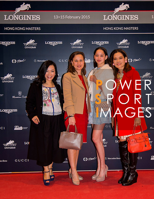 (L-R) Rachel Monballiu, Joanna Hotung, Dana Slosar, Joy Slosar attends the Opening Gala of the Masters during the Longines Hong Kong Masters 2015 at the AsiaWorld Expo on 12 February 2015 in Hong Kong, China. Photo by Li Man Yuen / Power Sport Images