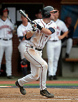 Virginia infielder Branden Cogswell (7) gets a hit during the game against Bucknell Friday at Davenport Field in Charlottesville, VA. Photo/The Daily Progress/Andrew Shurtleff