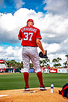 1 March 2019: Washington Nationals pitcher Stephen Strasburg warms up prior to a Spring Training game against the Miami Marlins at Roger Dean Stadium in Jupiter, Florida. The Nationals defeated the Marlins 5-4 in Grapefruit League play. Mandatory Credit: Ed Wolfstein Photo *** RAW (NEF) Image File Available ***