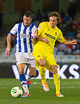 Real Sociedad's Imanol Agirretxe (l) and Villareal's Tomás Pina during Copa del Rey match.November 23,2013. (ALTERPHOTOS/Mikel)