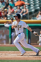 Zach Houchins (5) of the Salt Lake Bees bats against the Fresno Grizzlies at Smith's Ballpark on September 4, 2017 in Salt Lake City, Utah. Fresno defeated Salt Lake 9-7. (Stephen Smith/Four Seam Images)