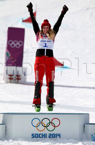 19.02.2014. Sochi, Russia.  Rosa Khutor   Sochi Winter Olympic Wiomens Giant Parallel Slalom Snowboarding.  Patrizia Kummer (SUI) celebrates on the podium