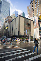 The former Parsons Center of the New School, the original venue for the Project Runway television program, in the Garment Center in New York is seen on Friday, February 14, 2014. The New School moved Parsons out of the building into its new University Center in Greenwich Village at the beginning of the year. The building, which still contains The Garment Center Congregation synagogue is in the process of being sold for development. (© Richard B. Levine)