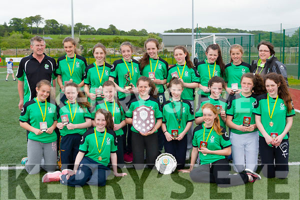 Killarney Celtic girls who won the Munster u14 plate in Charleville last week were presented shirts by the club on Thursday front row l-r:  Ciara Horgan, Kayleigh McGlashan. Middle row: Gillian Courtney, Chloe Fitzgerald, Chloe O'Connor, Alana O'Sullivan, Aoife Cronin, Clodagh Morrissey, Shauna O'Donoghue, Lauren Burke. Back row: Mike Lyne, Katie Buckley, Kate Murphy, Anna Clifford, Ciara randles, Lucy O'Donnell, Edel Harnett, maud Kelly and Caroline Kissane