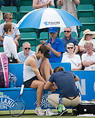 June 14th 2017, Nottingham,  England; WTA Aegon Nottingham Open Tennis Tournament day 5;  Tsvetana Pironkova of of Bulgaria receives treatment to her foot on her way to take the first set against Kurumi Nara of Japan