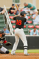 Nik Balog (18) of the Delmarva Shorebirds at bat against the Kannapolis Intimidators at CMC-Northeast Stadium on August 8, 2013 in Kannapolis, North Carolina.  The Shorebirds defeated the Intimidators 4-3.  (Brian Westerholt/Four Seam Images)