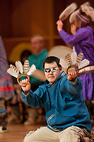 The Yup'ik Miracle Drummers and Dancers perform at the 2009 Festival of Native Arts, Fairbanks, Alaska.  The group are tradition bearers from the Yup'ik culture and have been performing together since 1994, promoting drug and alcohol free communities. The festival is one of interior Alaska's greatest celebrations of Alaska Native culture.