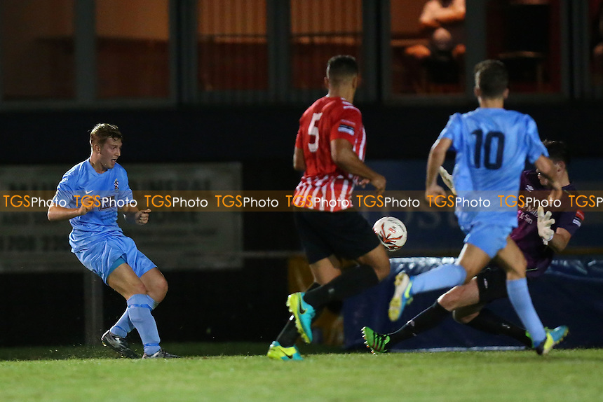 Charlie Georgiou of Brentwood scores the second goal for his team during AFC Hornchurch vs Brentwood Town, Ryman League Divison 1 North Football at Hornchurch Stadium on 6th September 2016