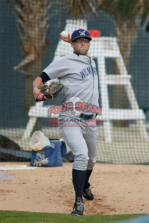 Wilmington Blue Rocks pitcher Cody Reed (32) before a game against the Myrtle Beach Pelicans at Ticketreturn.com Field at Pelicans Ballpark on April 10, 2015 in Myrtle Beach, South Carolina. Wilmington  defeated Myrtle Beach 8-3. (Robert Gurganus/Four Seam Images)