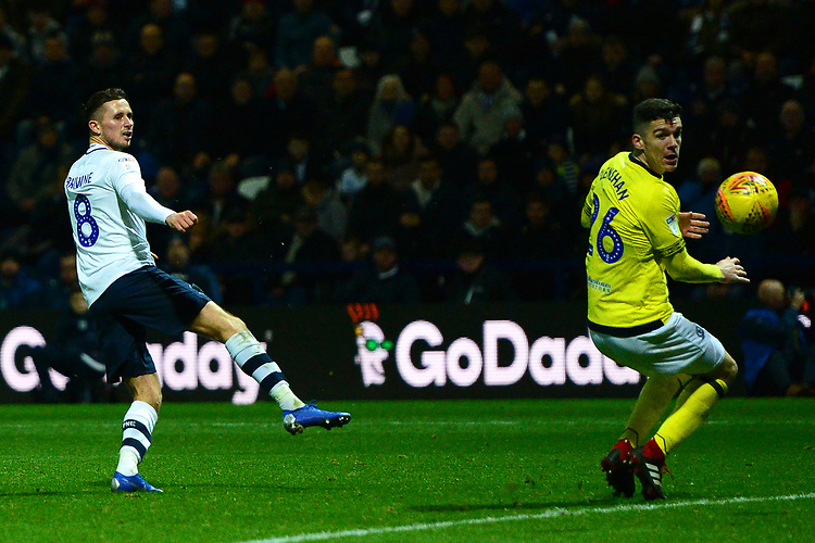 Preston North End's Alan Browne scores his side's fourth goal <br /> <br /> Photographer Richard Martin-Roberts/CameraSport<br /> <br /> The EFL Sky Bet Championship - Preston North End v Blackburn Rovers - Saturday 24th November 2018 - Deepdale Stadium - Preston<br /> <br /> World Copyright © 2018 CameraSport. All rights reserved. 43 Linden Ave. Countesthorpe. Leicester. England. LE8 5PG - Tel: +44 (0) 116 277 4147 - admin@camerasport.com - www.camerasport.com
