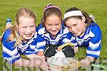 SKILLS: Clodagh Quinlan, Rebecca Galvin and Dararca Donoghue, pupils at Aughatubrid National School in South Kerry, who took part in the Kerry Primary Schools Girls Skills Finals in Fitzgerald Stadium Killarney on Friday last.   Copyright Kerry's Eye 2008