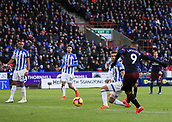 9th February 2019, The John Smith's Stadium, Huddersfield, England; EPL Premier League football, Huddersfield versus Arsenal; Alexandre Lacazette of Arsenal beats Huddersfield Town goalkeeper Ben Hamer from close range to give his side a 0-2 lead after 44 minutes