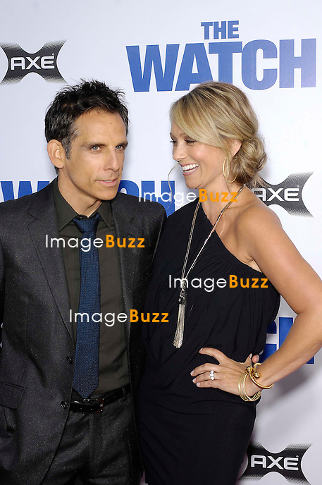 Ben Stiller and Christine Taylor during the premiere of the new movie from Twentieth Century Fox THE WATCH, held at Grauman's Chinese Theatre, on July 23, 2012, in Los Angeles..