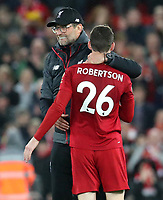 27th October 2019; Anfield, Liverpool, Merseyside, England; English Premier League Football, Liverpool versus Tottenham Hotspur; Liverpool manager Jurgen Klopp hugs Andy Robertson of Liverpool after the final whistle - Strictly Editorial Use Only. No use with unauthorized audio, video, data, fixture lists, club/league logos or 'live' services. Online in-match use limited to 120 images, no video emulation. No use in betting, games or single club/league/player publications