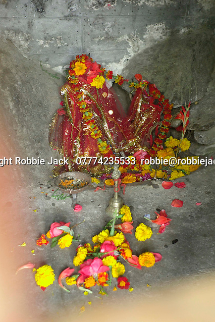 Deities at the Shakti Temple North of Vashisht in the upper Beas Valley, Himachal Pradesh, India.