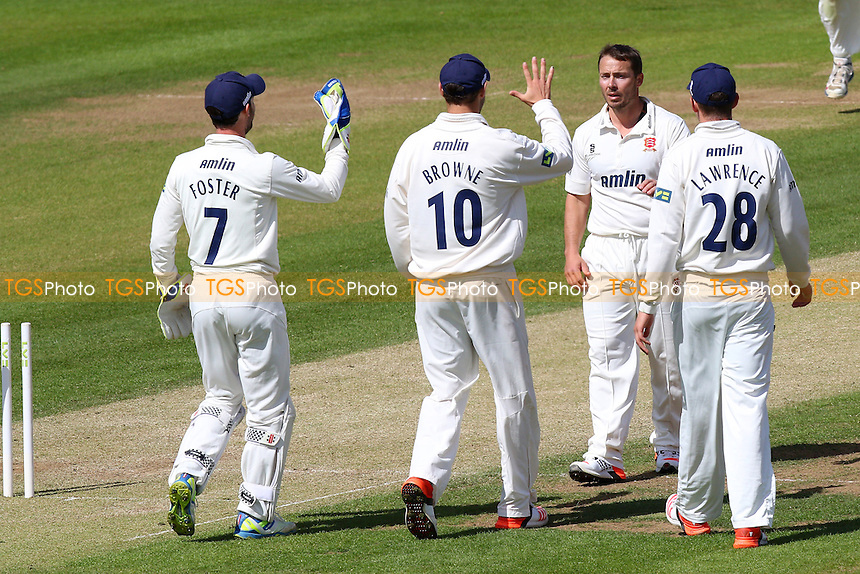 Graham Napier of Essex (2nd R) is congratulated by his team mates after taking the wicket of Graham Wagg - Glamorgan CCC vs Essex CCC - LV County Championship Division Two Cricket at the SWALEC Stadium, Sophia Gardens, Cardiff, Wales - 20/05/15 - MANDATORY CREDIT: TGSPHOTO - Self billing applies where appropriate - contact@tgsphoto.co.uk - NO UNPAID USE