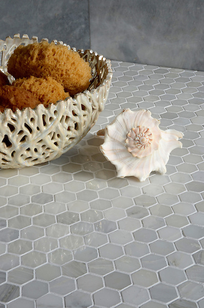 3 cm Hex shown in Calacatta Radiance polished.
