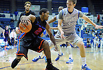 January 24, 2015 - Colorado Springs, Colorado, U.S. -   Boise State guard, Derrick Marks #2, works against Falcon, Zach Kocur #5, during a Mountain West Conference match-up between the Boise State Broncos and the Air Force Academy Falcons at Clune Arena, U.S. Air Force Academy, Colorado Springs, Colorado.  Boise State defeats Air Force 77-68.
