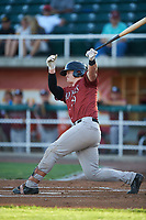 Idaho Falls Chukars Michael Emodi (19) at bat during a Pioneer League game against the Orem Owlz at The Home of the OWLZ on August 13, 2019 in Orem, Utah. Orem defeated Idaho Falls 3-1. (Zachary Lucy/Four Seam Images)