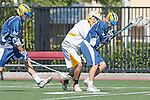 Orange, CA 05/01/10 - Nate Wellin (UCSB # 7), Kevin Bowles (UCSB # 16) and Bryan Siegel (ASU # 8) in action during the UC Santa Barbara-Arizona State MCLA SLC semi-final game in Wilson Field at Chapman University.  Arizona State advanced to the final by defeating UC Santa Barbara 13-9.