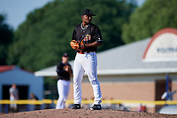Batavia Muckdogs relief pitcher Elkin Alcala (28) gets ready to deliver a pitch during a game against the West Virginia Black Bears on July 1, 2018 at Dwyer Stadium in Batavia, New York.  Batavia defeated West Virginia 8-4.  (Mike Janes/Four Seam Images)