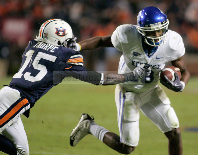 UK quarterback/wide receiver avoids Auburn defensive back Neiko Thorpe in his attempt to make a touchdown during the second half of the game at the Jordan-Hare Stadium Saturday. .Photo by Zach Brake | Staff