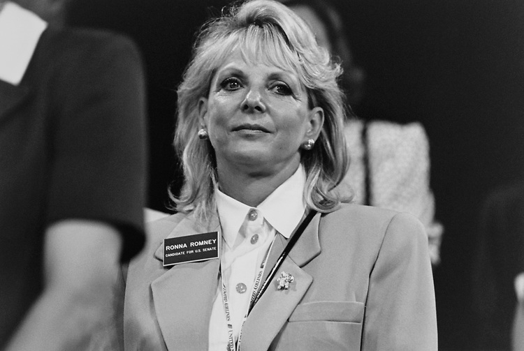 Senate Candidate Ronna Romney, R-Mich., at Republican National Committee Convention floor in August 1996. (Photo by Maureen Keating/CQ Roll Call via Getty Images)