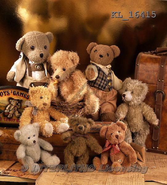 Interlitho, CUTE ANIMALS, LUSTIGE TIERE, ANIMALITOS DIVERTIDOS, teddies, paintings+++++,8 bears,suitcase,KL16415,#ac#