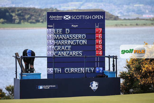 Scoreboard of the leaders during Round Two of the 2016 Aberdeen Asset Management Scottish Open, played at Castle Stuart Golf Club, Inverness, Scotland. 08/07/2016. Picture: David Lloyd | Golffile.<br /> <br /> All photos usage must carry mandatory copyright credit (&copy; Golffile | David Lloyd)
