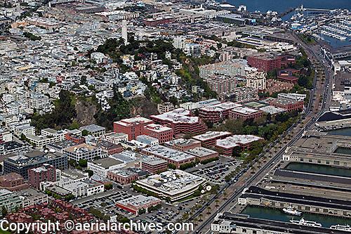 aerial photograph Embarcadero Coit Tower Levi's Plaza Telegraph Hill North Beach San Francisco, California