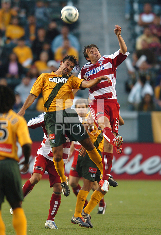 Jovan Kirovski, left, Carey Talley, right, L.A. Galaxy vs FC Dallas, L.A. won 2-0.