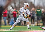 18 April 2015:  University of Vermont Catamount Midfielder Matt Gudas, a Freshman from Concord, NH, in action against the University of Hartford Hawks at Virtue Field in Burlington, Vermont. The Cats defeated the Hawks 14-11 in the final home game of the 2015 season. Mandatory Credit: Ed Wolfstein Photo *** RAW (NEF) Image File Available ***