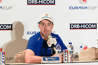 Ross Fisher (Europe) during an interview after the Friday Foursomes of the Eurasia Cup at Glenmarie Golf and Country Club on the 12th January 2018.<br /> Picture:  Thos Caffrey / www.golffile.ie