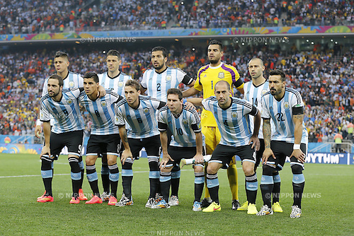 Argentina team group line up (ARG), JULY 9, 2014 - Football / Soccer : Argentina team group (Top L-R) Marcos Rojo, Martin Demichelis, Ezequiel Garay, Sergio Romero, Javier Mascherano (Bottom L-R) Gonzalo Higuain, Enzo Perez, Lucas Biglia, Lionel Messi, Pablo Zabaleta, Ezequiel Lavezzi, before the FIFA World Cup 2014 semi-final match between Netherlands 0(2-4)0 Argentina at Arena De Sao Paulo Stadium in Sao Paulo, Brazil. (Photo by AFLO) [3604]