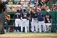 Detroit Tigers left fielder Christin Stewart (14) is congratulated by coaches Steve Liddle (43) and Rick Anderson (4) after hitting a home run during a Grapefruit League Spring Training game against the New York Yankees on February 27, 2019 at Publix Field at Joker Marchant Stadium in Lakeland, Florida.  Yankees defeated the Tigers 10-4 as the game was called after the sixth inning due to rain.  (Mike Janes/Four Seam Images)