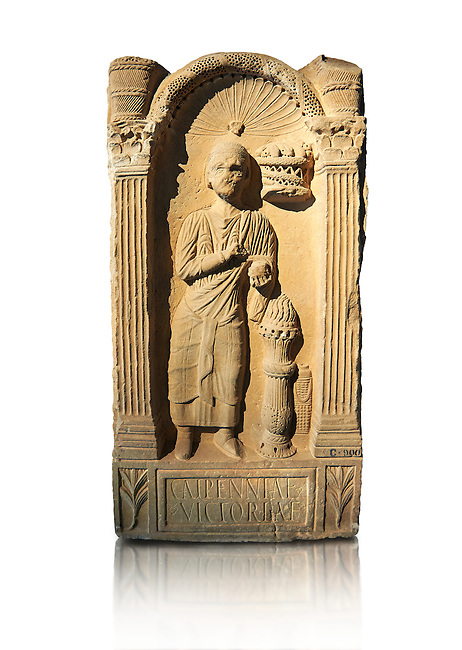 Second century AD Roman funerary Stele dedicated to Caipenniae Victoriae from  Africa Proconsularis , present day Tunisia. The Bardo National Museum, Tunis, Tunisia .  Against a white background.