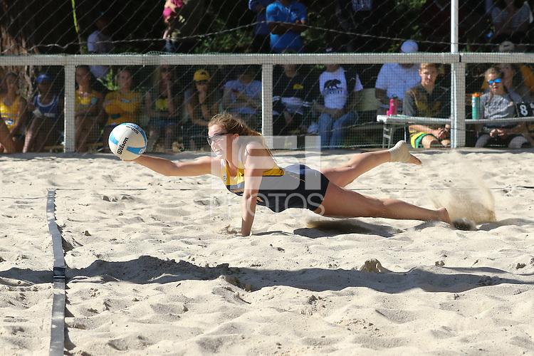 Berkeley, CA - April 15, 2016:  Cal Bears Beach Volleyball vs. San Jose State. Olivia Rodberg (21)