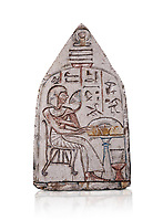 "Ancient Egyptian Ra stele , limestone, New Kingdom, 19th Dynasty, (1279-1190 BC), Deir el-Medina,  Egyptian Museum, Turin. white background, <br /> <br /> Akh iqer en Ra "" the excellent spirit of Ra' stele. The individual is smelling a lotus flower. One of three stele forund in different rooms of houses in Deir el-Medina where they stood in niches."