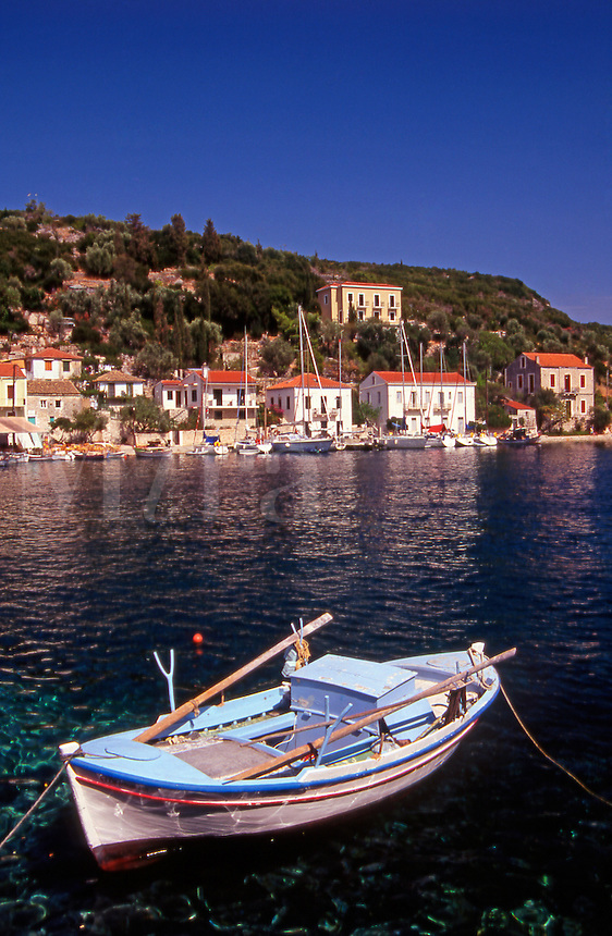 Greece. Ionian Islands. Ithaca. Fishing boat, Kioni.village.